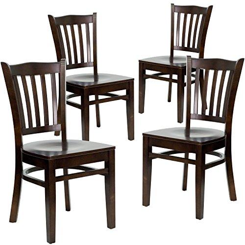 Flash Furniture 4 Pk. HERCULES Series Vertical Slat Back Walnut Wood Restaurant Chair ()