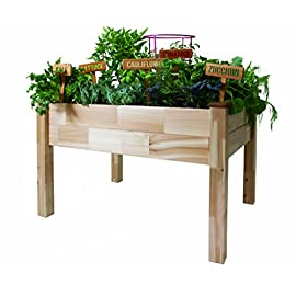 CedarCraft Elevated Garden Planter 17 DESIGNED FOR LIMITED SPACE GARDENING - elegant, contemporary design that will add unique beauty and style to any deck, patio or yard COMFORTABLE GARDENING HEIGHT reduces back and knee strain. Also helps protect plants from rabbits and other garden pests GROW YOUR FAVORITE flowers, strawberries, veggies, and herbs...a fresh chef's bounty right outside your door