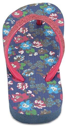 Sandrocks Mädchen-Flip-Flops mit Blumenmuster und Floral Print Glitzer-Zehenriemen Gurt Flip Flop Rose