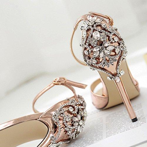 Fashion Womens Ladies Girl Summer Luxury Large Rhinestone Diamond High Heel Banquet Womens Sandals Party Wedding Heels Heel Height 11cm Gold Gold Y5MUaieWcm