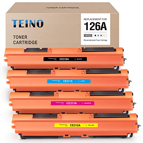 TEINO Compatible Toner Cartridge Replacement for HP 126A CE310A CE311A CE312A CE313A for Color Laserjet Pro MFP M175nw CP1025nw M275 M275NW (Black, Cyan, Magenta, Yellow, 4 Pack) (Hp M275 Black Toner)