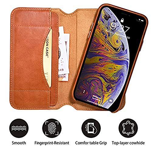 iPhone Xs Max Wallet Case, JisonCase Genuine Leather 2 in 1 Detachable Wallet Cover with RFID Blocking & Card Slot, Removable Magnetic Folio Flip Wallet Case for iPhone Xs Max/10s max,Brown