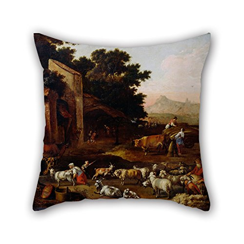 Loveloveu Pillow Covers Of Oil Painting Colonia, Adam - Sheep Shearing,for Couples,