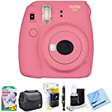 Fujifilm Instax Mini 9 Instant Camera Flamingo Pink (16550631) with 20 Sheets of Instant Film, Bag for Camera, AA Charger w/ AA Batteries, LCD/Lens Cleaning Pen, Lens Cleaning Kit & Micro Fiber Cloth