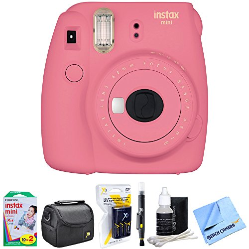 Fujifilm Instax Mini 9 Instant Camera Flamingo Pink (16550631) with 20 Sheets of Instant Film, Bag for Camera, AA Charger w/ AA Batteries, LCD/Lens Cleaning Pen, Lens Cleaning Kit & Micro Fiber Cloth by Fujifilm
