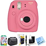 Fujifilm Instax Mini 9 Instant Camera Flamingo Pink (16550631) with 20 Sheets of Instant Film, Bag for Camera, AA Charger w/AA Batteries, LCD/Lens Cleaning Pen, Lens Cleaning Kit & Micro Fiber Cloth