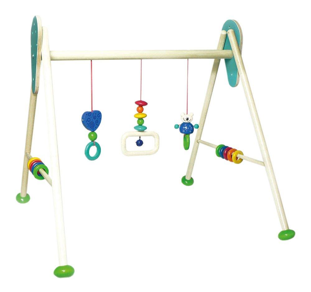 Hess Holzspielzeug 13374 Babyspielgerät Bär Tim aus Holz, höhenverstellbar, ca. 62 x 57 x 55 cm höhenverstellbar