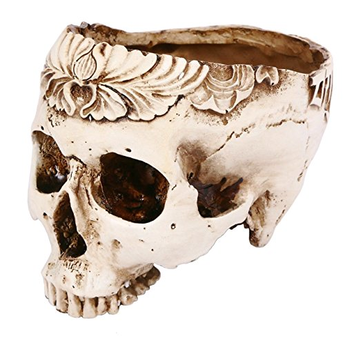 THEE Skeleton Skull Carved Resin Craft Flower Pots Garden Decoration Ashtray Halloween Ornament -