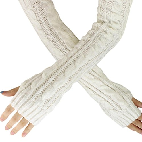 Ikevan Hot Selling Women's Acrylic Knitted Long Soft Gloves Arm Warmer Thicken Gloves Sleeves Fingerless Thumb Hole Gloves Autumn Winter (White) Review