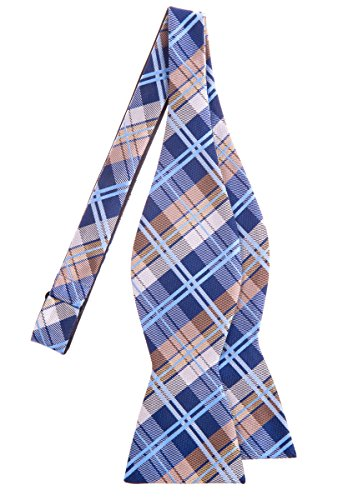 Retreez Elegant Tartan Plaid Check Woven Microfiber Self Tie Bow Tie - Navy Blue and Khaki
