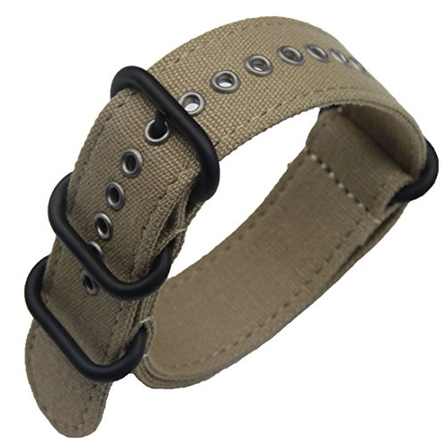 [24mm Khaki Luxurious Military Exotic Nylon Canvas Nato style Watch Straps Bands Replacement for Men] (Buckle Khaki)
