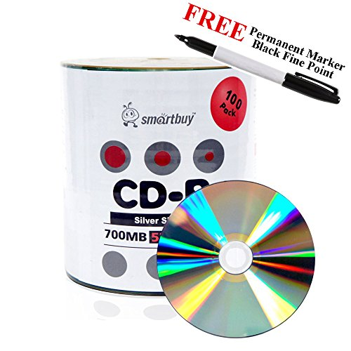 Smartbuy 100-disc 700mb/80min 52x CD-R Silver Shiny Blank Recordable Disc + Black Permanent Marker by Smartbuy