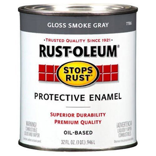 Rust-Oleum 7786502 Protective Enamel Paint Stops Rust, 32-Ounce, Gloss Smoke Gray (Paint Alkyd Gloss Semi Enamel)