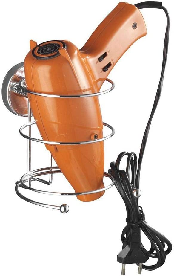 WENKO Vacuum Loc® porte sèche cheveux Milazzo fixer sans percer, Acier, 13.5 x 13.5 x 13 cm, Chromé