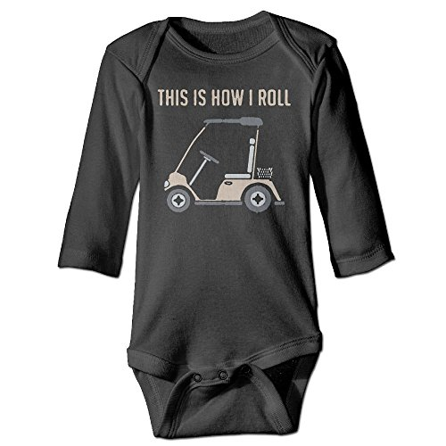 Q98BABY Infant Baby Boys Girls Long Sleeve Baby Clothes This is How I Roll Golf Cart Funny Golfers Print Jumpsuit Onesie Black