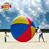 BroBee 80In Over Sized Giant Inflatable Beach Football Floating Pool Soccer Ball for Party Play Game Toy