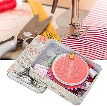 Kit de costura portátil, mini caja de herramientas de costura exquisita caja de costura de hojalata con enhebrador agujas nacaradas y tijeras de costura para viajeros adultos emergencia para principia