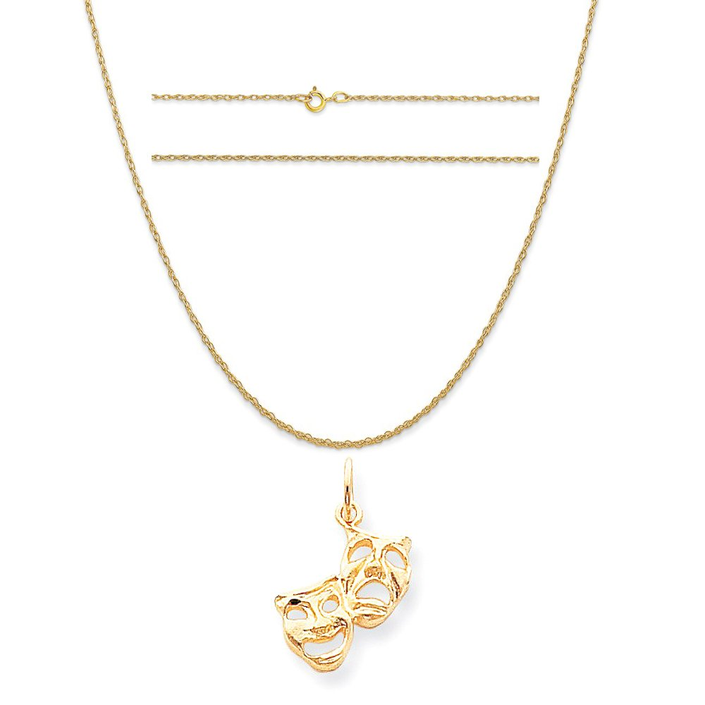 K/&C 10k Yellow Gold Comedy Tragedy Charm on a 14K Yellow Gold Carded Rope Chain Necklace