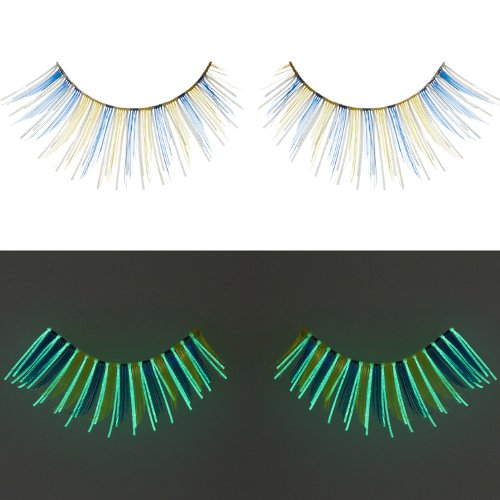Zinkcolor Blue Yellow False Eyelashes G238 Glow In The Dark Halloween Costume (Pencil Halloween Costume)