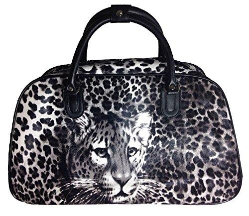 Big Handbag in Flight Urlaub Reisetasche Handgepäck Weekend Trolley Tasche Black - Leopard Print NBpbcbhM