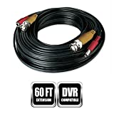 Night Owl Security 60 Feet BNC Video/Power Camera Extension Cable with Adapter