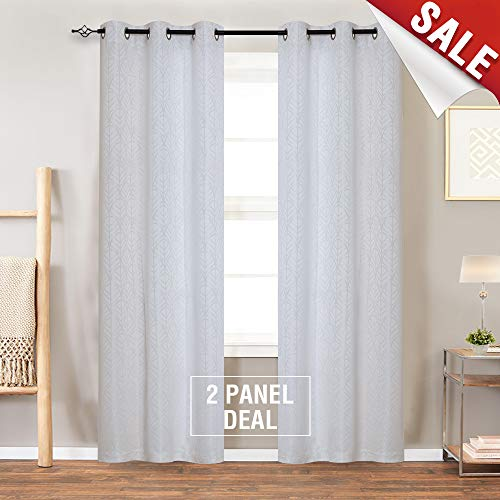 Jacquard Curtains for Living Room 63 inch Length Leaf Pattern White Light Filtering Window Curtains for Bedroom Privacy Opaque Window Treatment Set, Grommet Top, 2 Panels