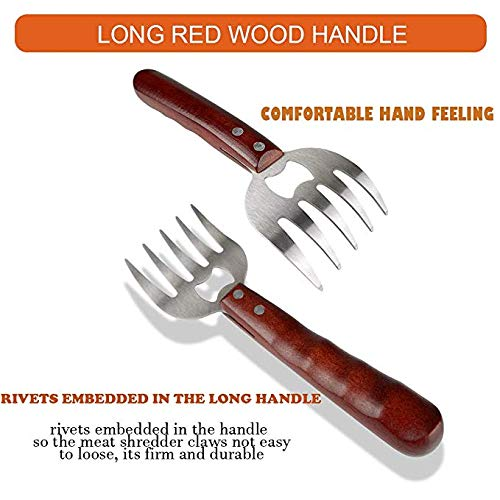 Silver Beef Grill BBQ Fixget 2 Pieces Stainless Steel Pulled Claws Bear Paws Shredder Claws with Wooden Handle Meat Forks Bear Paw Meat Claws with Wooden Handle for Pork Chicken M