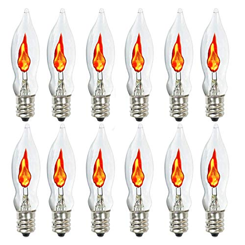 Flicker Flame Light Bulb,Flame Shaped Bulb Dances with a Flickering Orange Glow,1 Watt, 120 Volt, E12 Flame Candelabra Light Bulbs,12-Pack