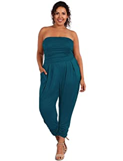 f0e595816aa UU Fashion Women s Premium Plus Size Strapless Jumpsuit Romper ...
