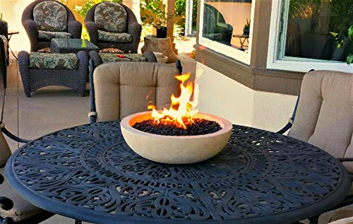 A Fire Pit for Your Patio Table.  Landscape Quality Tabletop Fire Bowl Made of Concrete with 50,000 BTU Stainless Steel Burner.  Runs on Propane.