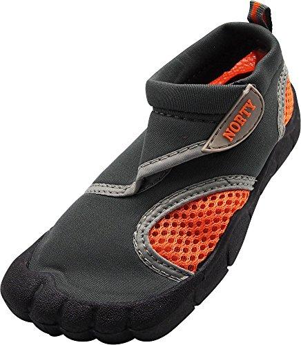 NORTY - Little Boys Skeletoe Mesh Waterproof Athletic Aqua Socks for Pool Beach, Grey, Orange 40315-12MUSLittleKid (Kids Toe Shoes)