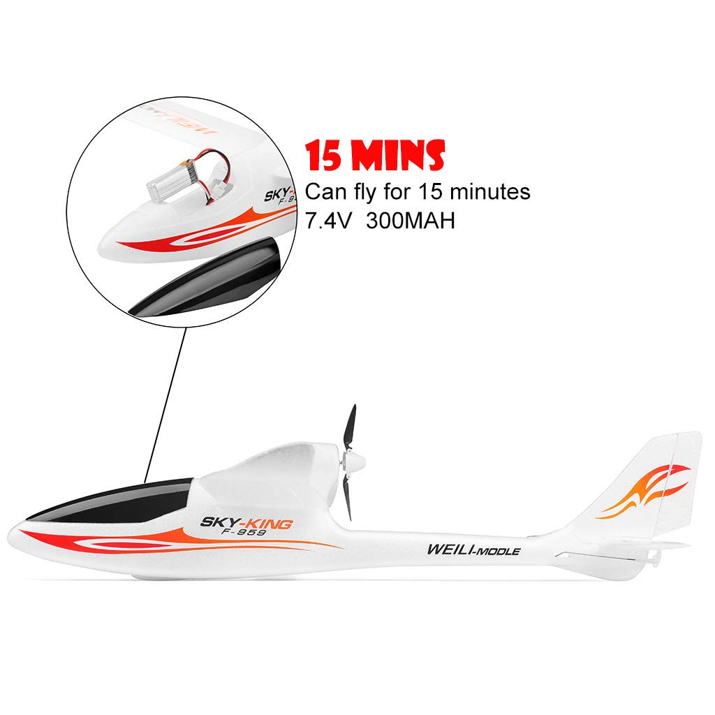 Hisoul F959 RC Airplane 2.4G 3CH Radio Control Remote Control Backward Pusher Glider RTF for Beginner Best Gift - Shipped from US (♥ White) by Hisoul (Image #5)