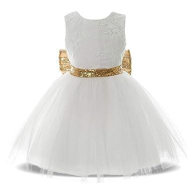 54a4b1c393ab1 BOZEVON Filles Baptême Robes de Mariage - Nouveau-né bébé Tout Petit Filles  Paillettes Bowknot