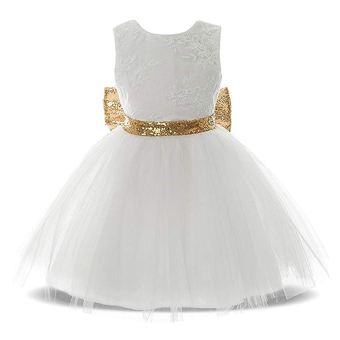 bf2382de1d2712 BOZEVON Matrimonio Battesimo Ragazza Vestito - Neonate Toddler Baby Girls  Paillettes Bowknot Floreale Senza Maniche Cute