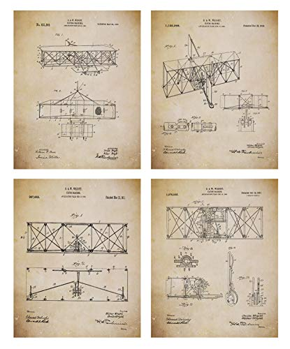 Wright Brothers Patent Prints Old Antique Parchment Look - Airplane Patent Posters - Flying Machine Invention - Aviation Artwork – Set of 4 (8x10) Pictures – Vintage Wall Art ()