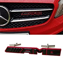 Ricoy Front Hood Grille Grill Matt Metal Badge For Mercedes-Benz AMG Logo EmblemS C Class New (AMG-Red)