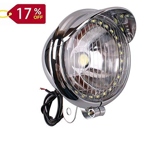 5 inch Motorcycle Front Lamp Light Chrome with 27 LED Angel Eye COB LED Headlight Universal for BMW 528I Harley Bobber Chopper Cruisers