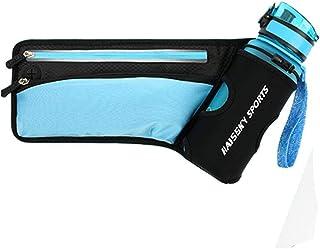 Haissky Waroomss - Portabottiglie Multifunzione per Corsa, Fitness, Yoga, Viaggio, Cintura Porta Bottiglia d'Acqua, Regolabile, Sport, Corsa, Cintura per iPhone, Blu