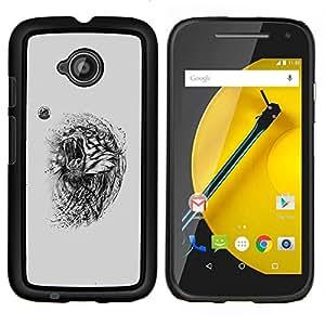 LECELL--Funda protectora / Cubierta / Piel For Motorola Moto E2 E2nd Gen -- Tigre enojado --