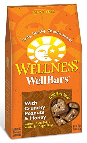 Wellness WellBars Wheat Free Peanuts & Honey Natural Crunchy Dog Treat Biscuits, 20-Ounce Box by Wellness Natural Pet Food