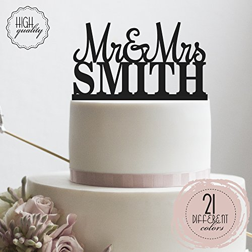 Custom Personalized Mr & Mrs Wedding Cake Topper With Your L