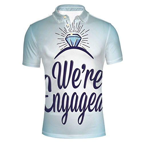 iPrint We are Engaged Announcement Quote Wedding Ring,Sky Polo T-Shirts by iPrint