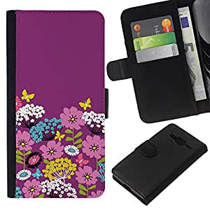 Stuss Case / Funda Carcasa PU de Cuero - Teal blanco Flores estilšªstica - Samsung Galaxy Core Prime