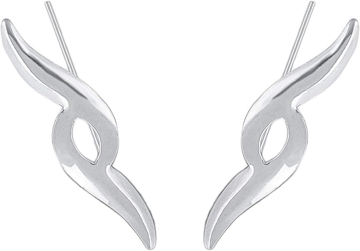 ENTREPLATA Pendientes Trepadores Ear Climber Plata de Ley 925 Simbolo Etnico.