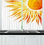 Ambesonne Summer Kitchen Curtains, Modern Art Watercolor Hand Painted Sun Ombre Image Swirl Like Beams, Window Drapes 2 Panels Set for Kitchen Cafe, 55W X 39L Inches, Orange Marigold and Yellow