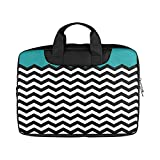 Black and White Chevron Stripe Pattern Laptop Notebook Handle Sleeve Bag Case Cover for 13