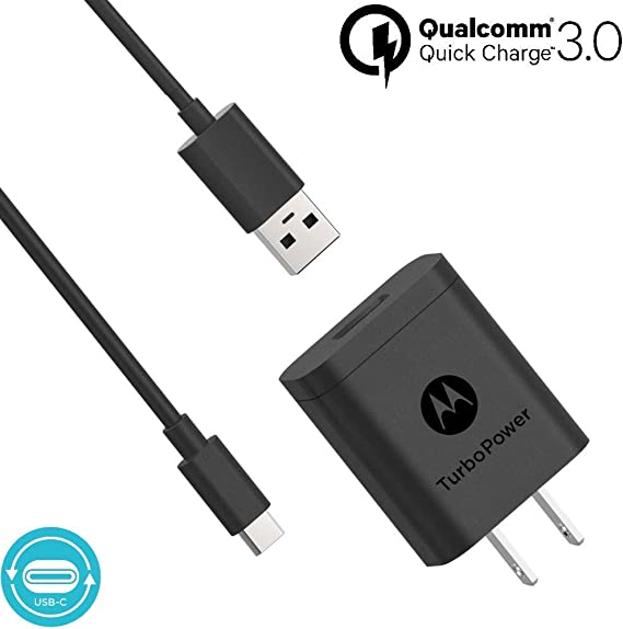 Motorola TurboPower 18 QC3.0 Charger with Long 6.6 Foot USB-A to USB-C Cable for Moto Z, Z2, Z3, Z4, X4, Motorola One, One Power, G7, G7 Play, G7 ...
