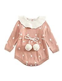 Theshy Infant Newborn Baby Boy Girl Dot Knit Romper Bodysuit Crochet Clothes Outfits
