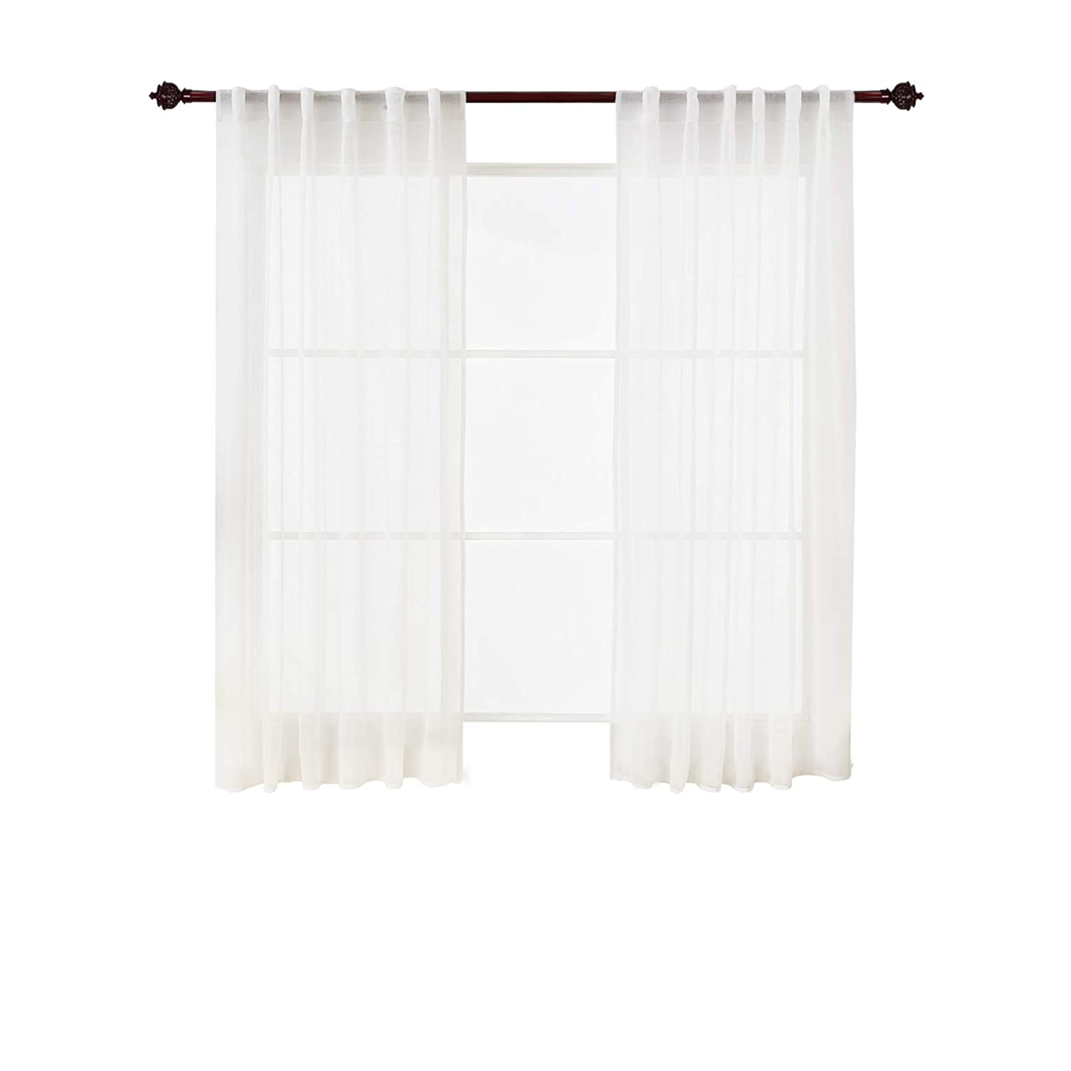 Deconovo Sheer White Curtains 84 Inches Long Rod Pocket Linen Look Transparent Voile Curtains for Bedroom 38W x 84L White 2 Panels