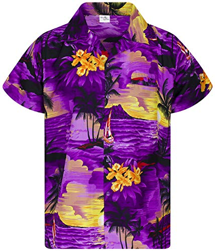 King Kameha Funky Hawaiian Shirt, Shortsleeve, Surf, Purple, 5XL ()